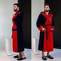 Мужской шикарный длинный махровый теплый двухцветный халат с капюшоном и карманами . Арт-4807, фото 1