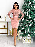 Женское стильное платье с 42 по 48 рр креп дайвинг + стрейч сетка, фото 5