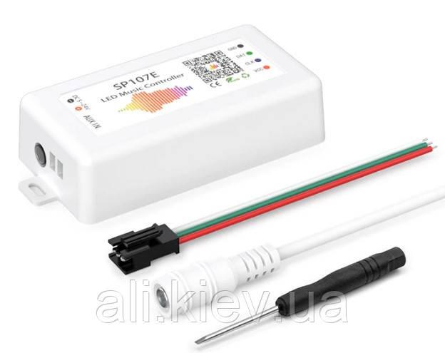 LED музикальний контролер RGB адресної стрічки, SP107E WiFi, DC5-24V ,  ЛЕД освітлення, музична гірлянда