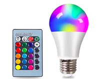 Светодиодная лампа 5Вт RGB цветная Е27 с пультом