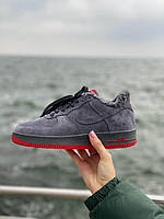 Зимние замшевые кроссовки на меху серого цвета Nike Air Force 1  Low Grey (Найк Аир Форс на меху), фото 1