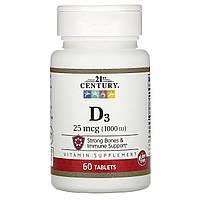 Вітамін Д3, 21st Century, 1000 МО, 60 таблеток