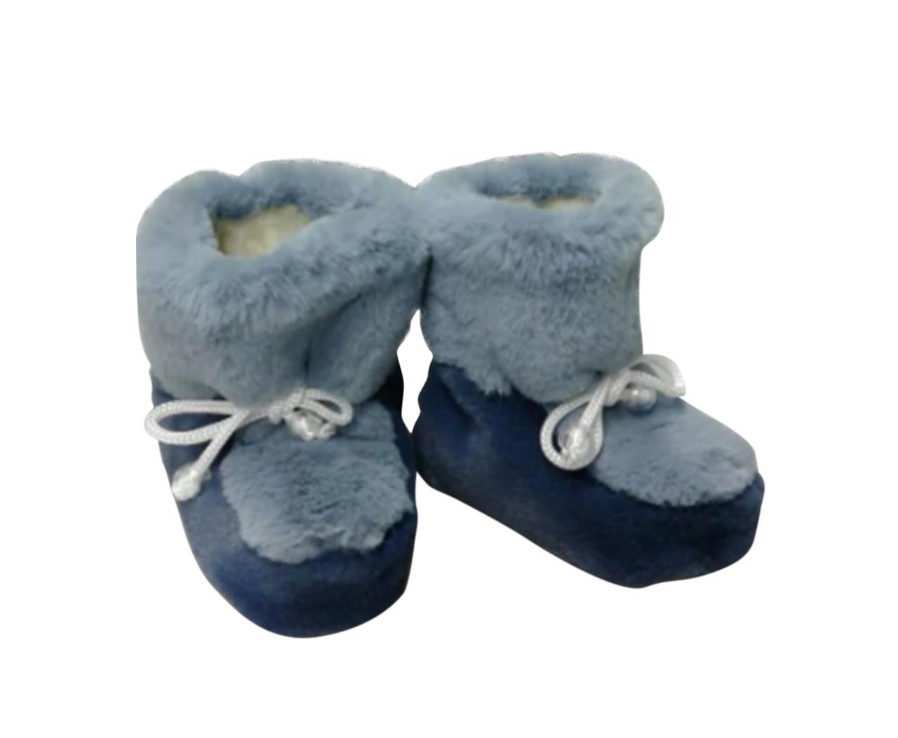 Детские меховые сапожки домашние Серые с синим