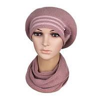Комплект берет и шарф женский вязаный Kristina ангора цвет пудровый, фото 1