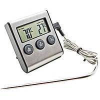 Цифровой термометр TP-700 для духовки (печи) с выносным датчиком до 300°С кухонный таймер ТР700 корпус Металл!