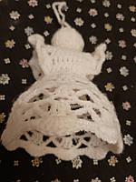 Ангелочек - елочная игрушка - сувенир - ангелочек в белом платье, 14см