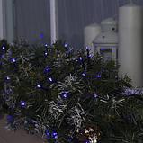 Новогодняя уличная гирлянда 100 LED + FLASH, 10 м, черний каучук 2 мм, синий, фото 2