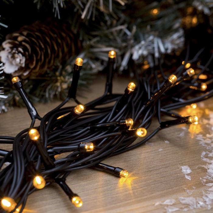 Новогодняя уличная гирлянда 100 LED + FLASH, 10 м, черний каучук 2 мм, теплый белый