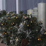 Новогодняя уличная гирлянда 100 LED + FLASH, 10 м, черний каучук 2 мм, теплый белый, фото 2