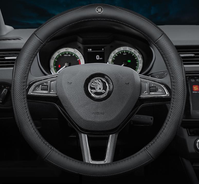 Чехол оплетка Cool на руль для автомобиля Skoda натуральная кожа