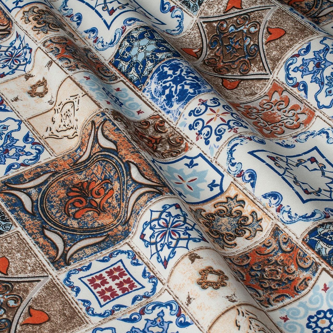 Ткань для штор и подушек пэтчворк синий и коричневый цвет