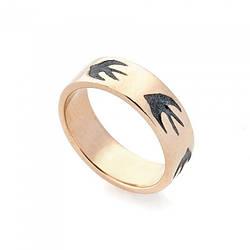Золотое обручальное кольцо (чернение) обр00292