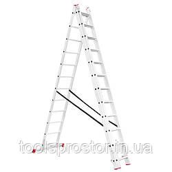 Драбина алюмінієва 3-х секційна універсальна розкладна INTERTOOL LT-0312