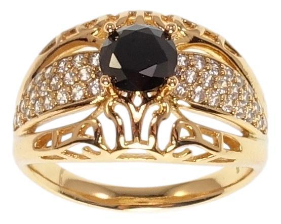 """Кольцо ХР Позолота 18K """"Ретро стиль с черным кристаллом и цирконием"""" р.17,18,18.5"""