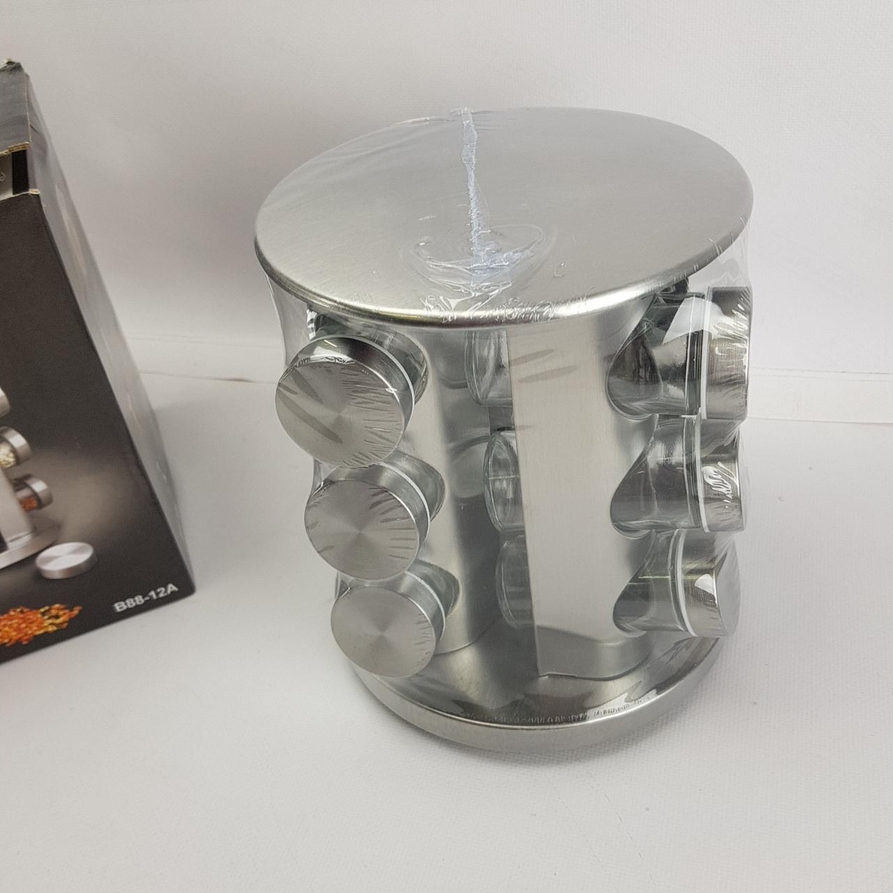 Набір банок для спецій на обертовій сталевий підставці карусель 12 шт Spice Carousel