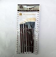 Набор плоских художественных кистей из мягкой натуральной шерсти, 6шт