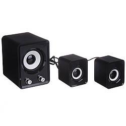 Колонки для комп'ютера, ноутбука FT-202 Mini 2.1 чорні, активна акустична система для будинку | акустика 2.1