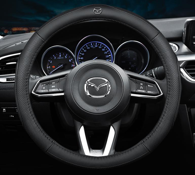 Чохол обшивка Cool на кермо для автомобіля Mazda натуральна шкіра
