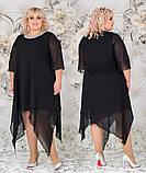 Женское свободное платье  батал с 48 по 62 рр шифон, фото 6