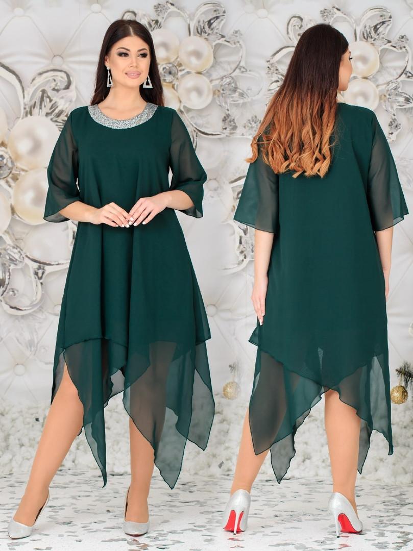 Женское свободное платье  батал с 48 по 62 рр шифон