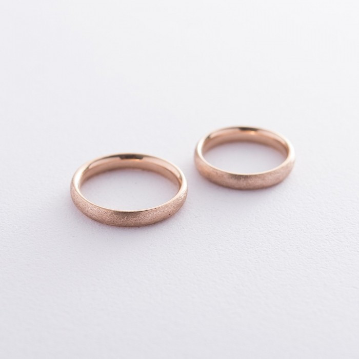 Золотое обручальное кольцо 4 мм (фантазийный мат) обр00407