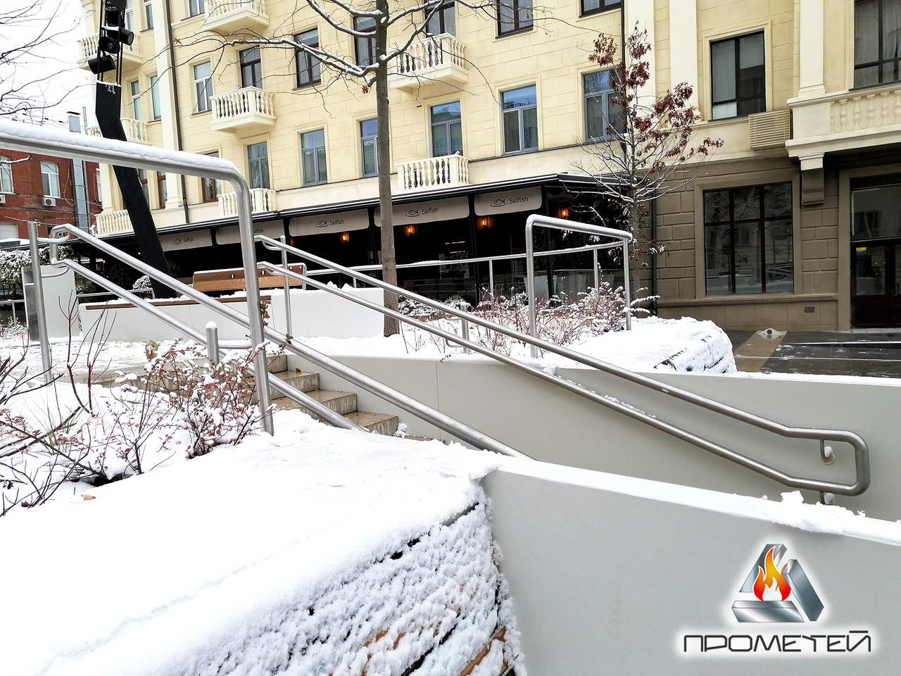 Двойной поручень для лестниц в парках, на набережных, скверах