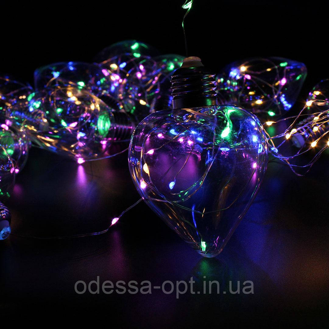 Xmas гирлянда в виде Лампочки сердца 150 Led Мультицветная 10M 8CM 3M1,5M
