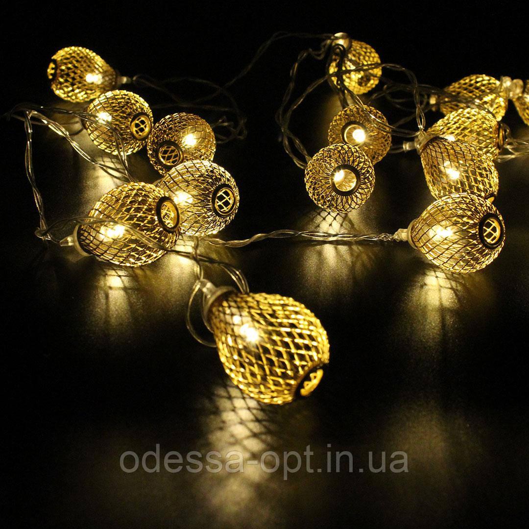 Xmas гирлянда золотые шарики 20 шт WW Теплый белый