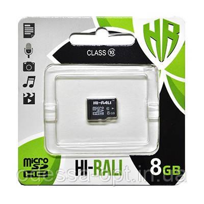 Карта пам яти microSDHC (UHS-1) 8GB class 10 Hi-Rali (без адаптерів)