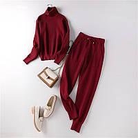 Костюм женский двойка штаны и свитер размер S\M бордовый, фото 1