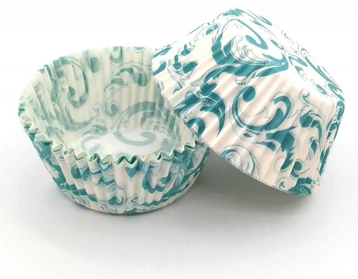 Тарталетки (капсулы) бумажные для кексов, капкейков завиток бирюзовый