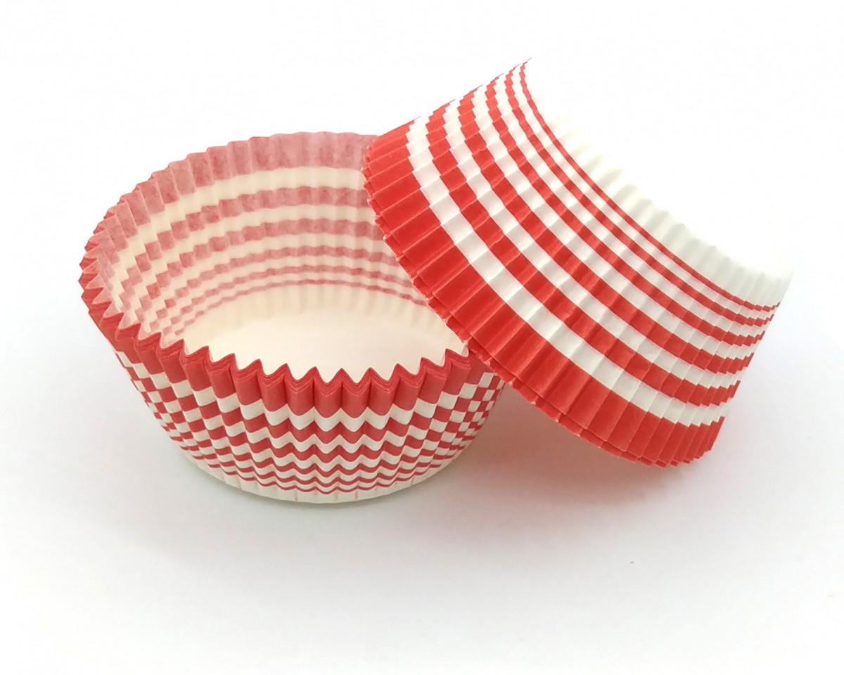Тарталетки (капсули) паперові для кексів, капкейків червоні з білим