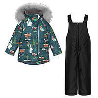 Детский зимний комплект Куртка Северный полюс и Черный полукомбинезон / Детские куртки и комбинезоны зима