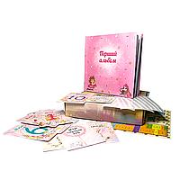 Альбом + 15 карток + плакат + коробка + куточки для фото, дитячий альбом для новонароджених «Мій перший рік»
