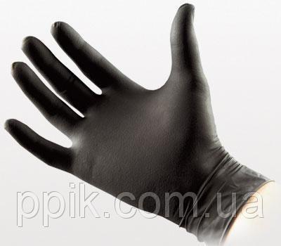Перчатки нитриловые черные 1 пара