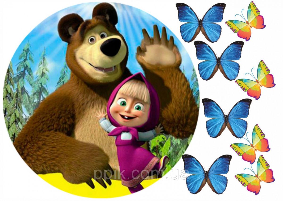 Вафельна картинка Маша і ведмідь 3