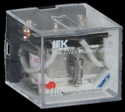 Реле промежуточное РЭК77/3(LY3) с индикацией 10А 12В DC IEK, фото 2