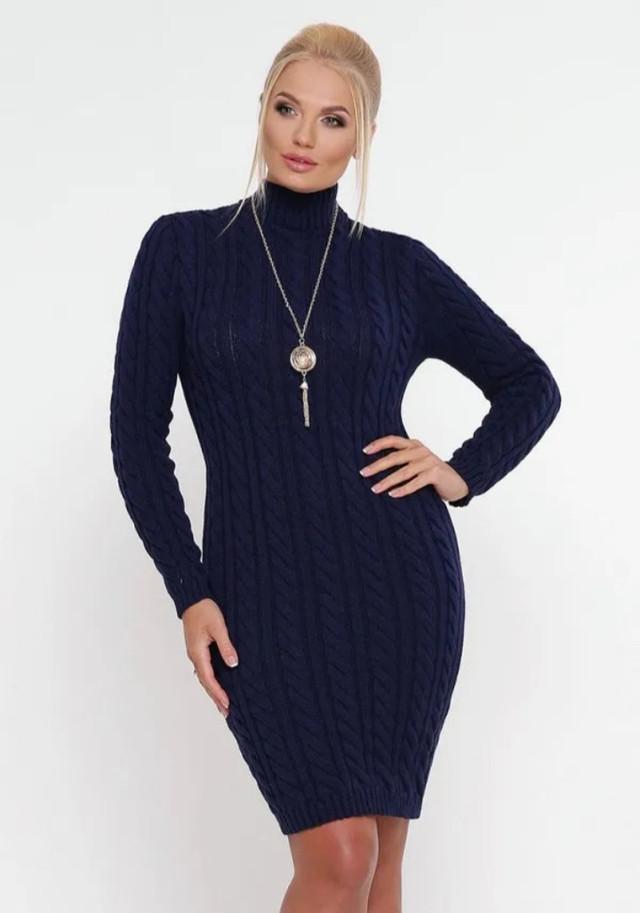 Синее красивое зимнее платье