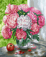 Алмазна мозаїка + картина за номерам 40*50 Ароматні піони BrushMe