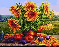 Алмазна мозаїка + картина за номерам 40*50 Натюрморт з соняшниками BrushMe