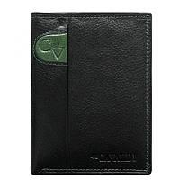 Мужское кожаное портмоне вертикальное 4UCavaldi N4-SCV черный с зеленым, фото 1