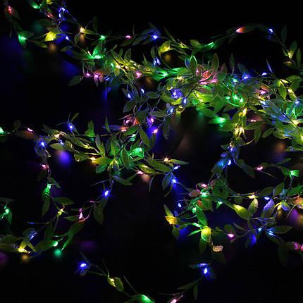 Xmas гирлянд 200 Led листья плакучей ивы (Copper) на медной проволоке Мультицветная 3M*1M, фото 2