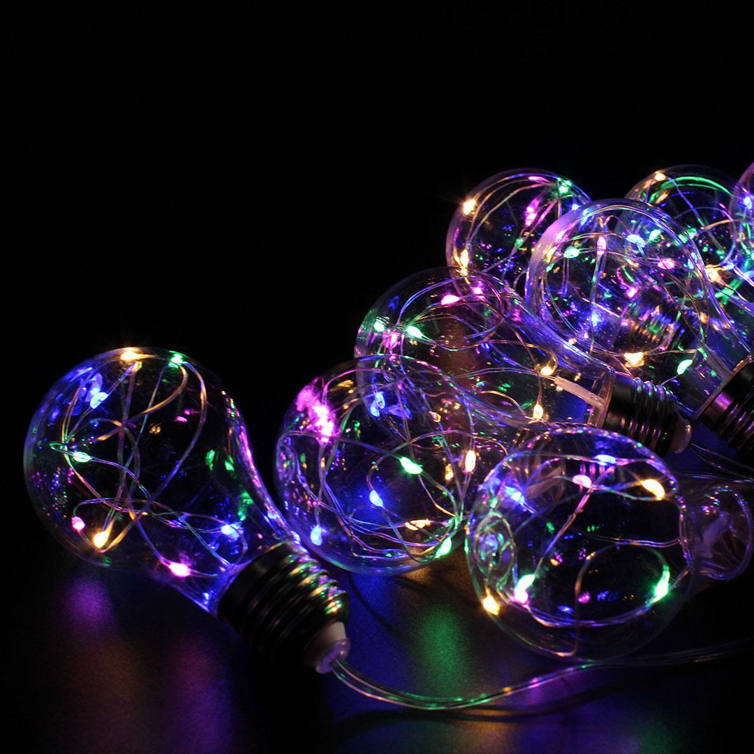 Xmas гірлянд у вигляді Лампочки 10 Led Мультикольорова із з'єднувачем