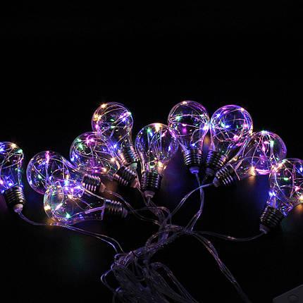 Xmas гірлянд у вигляді Лампочки 10 Led Мультикольорова із з'єднувачем, фото 2