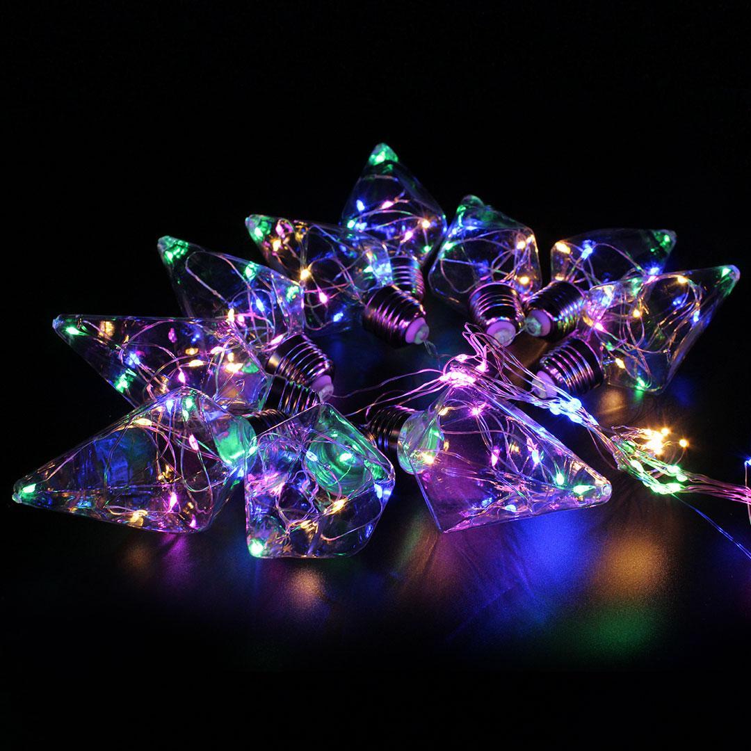 Xmas гирлянда в виде Лампочки ромб150 Led Мультицветная 10СM 8CM 3M 1,5M (30)