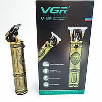 Акумуляторна машинка для стрижки волосся 3 насадки USB стрижка металевий корпус VGR V-085