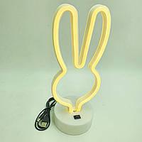 Неоновый светильник ночник лампа настольная декоративная Neon Decoration Lamp Зайчик тепло белый свет