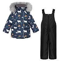 Детский зимний комплект Куртка Синяя Арктика и Черный полукомбинезон / Детские куртки и комбинезоны зима