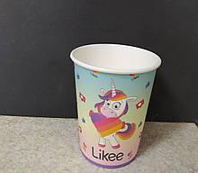 Набір паперових стаканів блакитний з рожевим принт Likee 250мл 5шт.