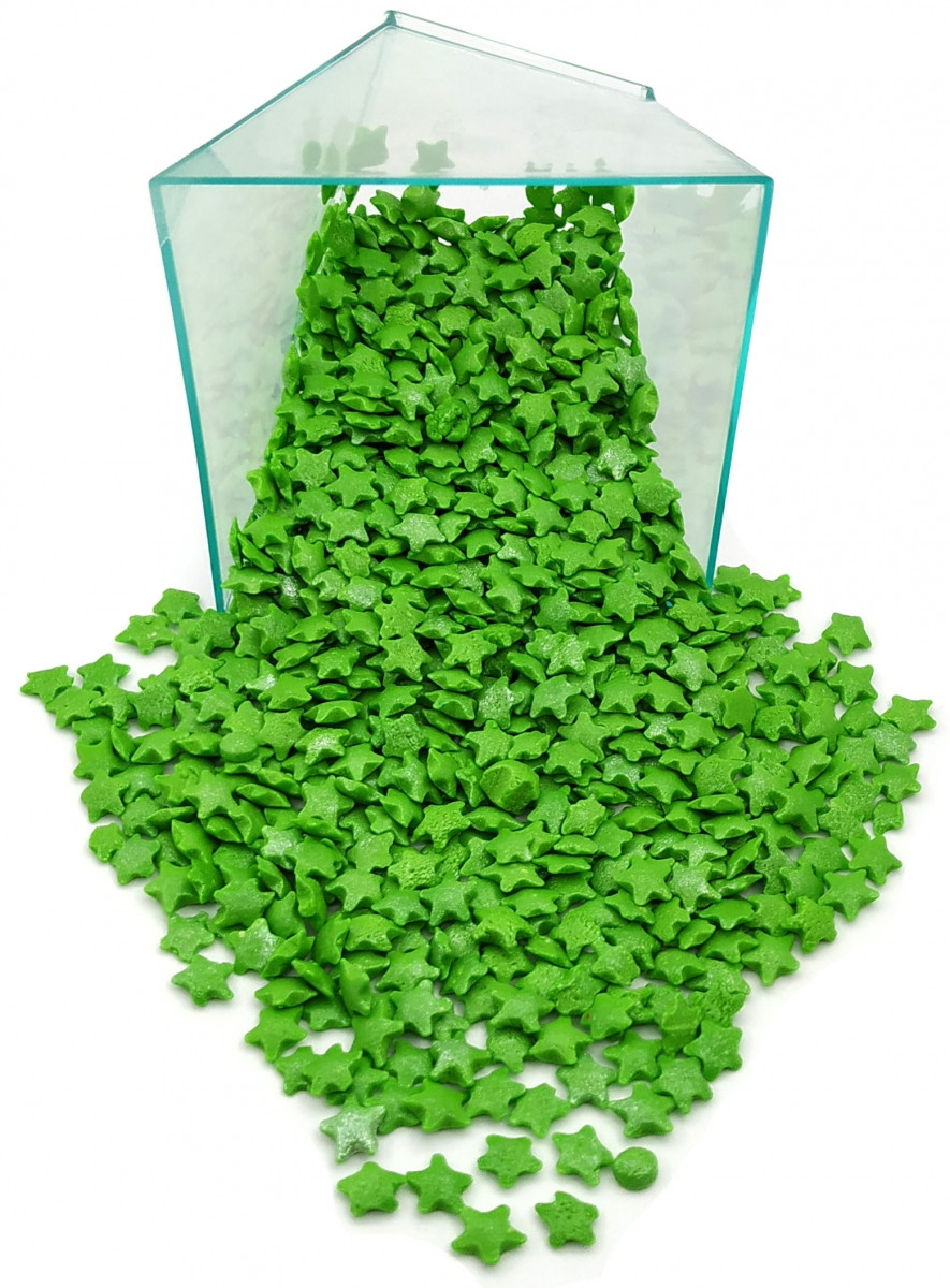 Посыпка зеленые перламутровые звездочки 50 грамм
